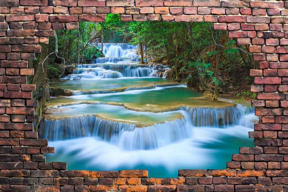 Large Wall Mural Cascading Waterfalls In The Forest Viewed