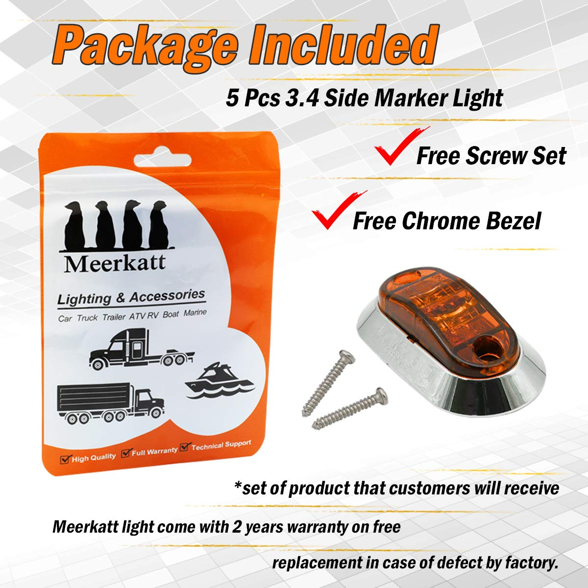 """Meerkatt 2.5/"""" Inch Oval Red Surface Mount 2 LEDs SMD High Brightness Sealed Bulb Waterproof Clearance Marker Flash Lights Trailer Lorry Camper Truck Pickup SUV 10-30V DC w//Chrome LM-CHS Pack of 10"""