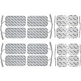 16 elettrodi pad, 8 da 10x5cm + 8 da 5x5cm. Autoadesivi, per elettrostimolatori TENS con attacco universale a spinotto da 2mm