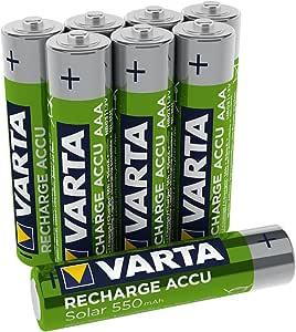 Pila Micro de Ni-Mh VARTA Recharge Accu Solar (AAA, 550 mAh, paquete de 8 unidades), recargable sin efecto de memoria: Amazon.es: Electrónica