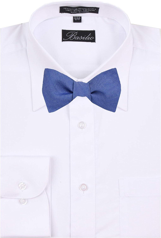 Mens Blue and Navy Silk Solid Self Tie Bowtie Tie Yourself Bow Ties