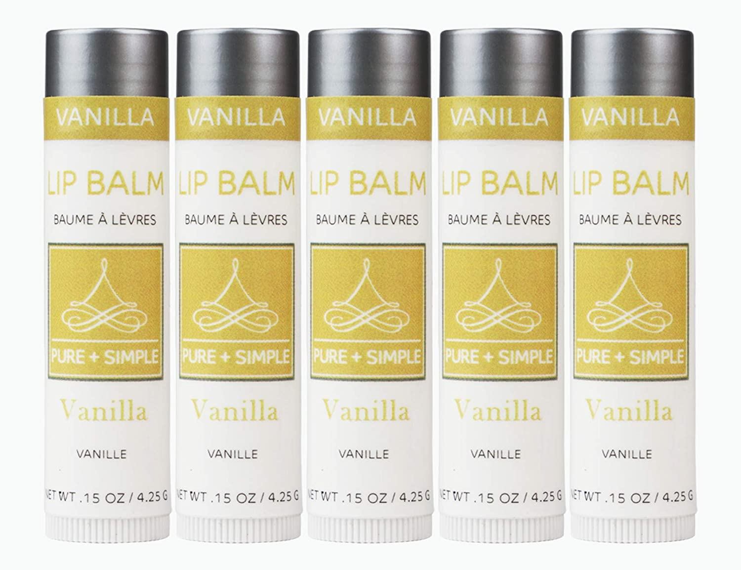 Vegan Lip Balm by PURE + SIMPLE Vanilla Lip Balm Collection, Set of 5 Tubes, Cruelty Free, Beeswax Free, with Avocado Oil, Jojoba Oil, Candelilla Wax, Moisturize Dry, Cracked, or Chapped Lips
