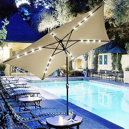 Yescom 10×6.5ft Outdoor Rectangular Solar Powered LED Lighted Patio Umbrella Table Market Umbrella with Crank Beige