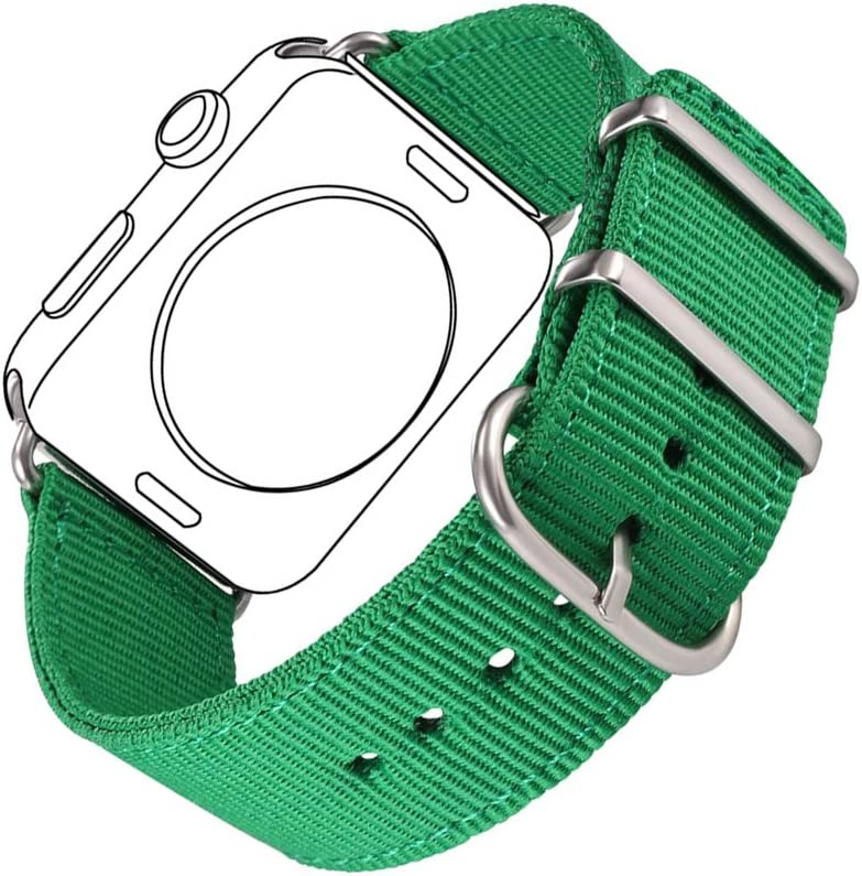 Bandmax Nylon Band Compatible For Apple Watch 38MM/40MM, Green Grass Nylon Fabrics Replacement Strap Accessories Compatible For iWatch Series 5/4/3/2/1 mix Stainless Steel Classic Buckle(Greenery)