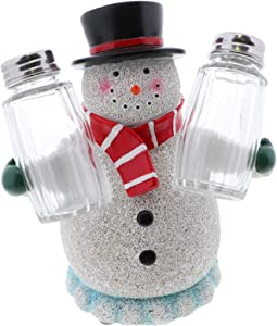 Christmas Snowman Novelty Salt and Pepper Shaker Set with Stand Holiday Kitchen Décor - Snowman Stand