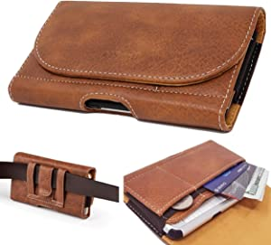 AIScell Belt Clip Wallet Carrying Case for iPhone 11 , iPhone XR ,12 Pro ,12 , Blown Faux Leather Sleeve Pouch Holster Card Slots Case Fits Phone with Protective Case Skin Cover on