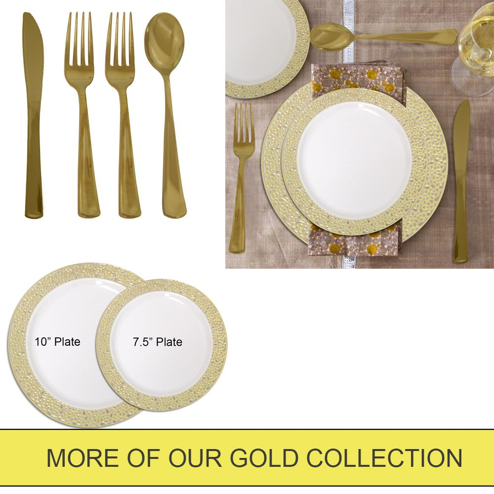 7.5 Inch Plastic Plates Trimmed With Gold Lace. Pack Of 40 Elegant Disposable China Like Dinnerware. 7.5'' Ivory and Gold Lace Appetizer Plates.