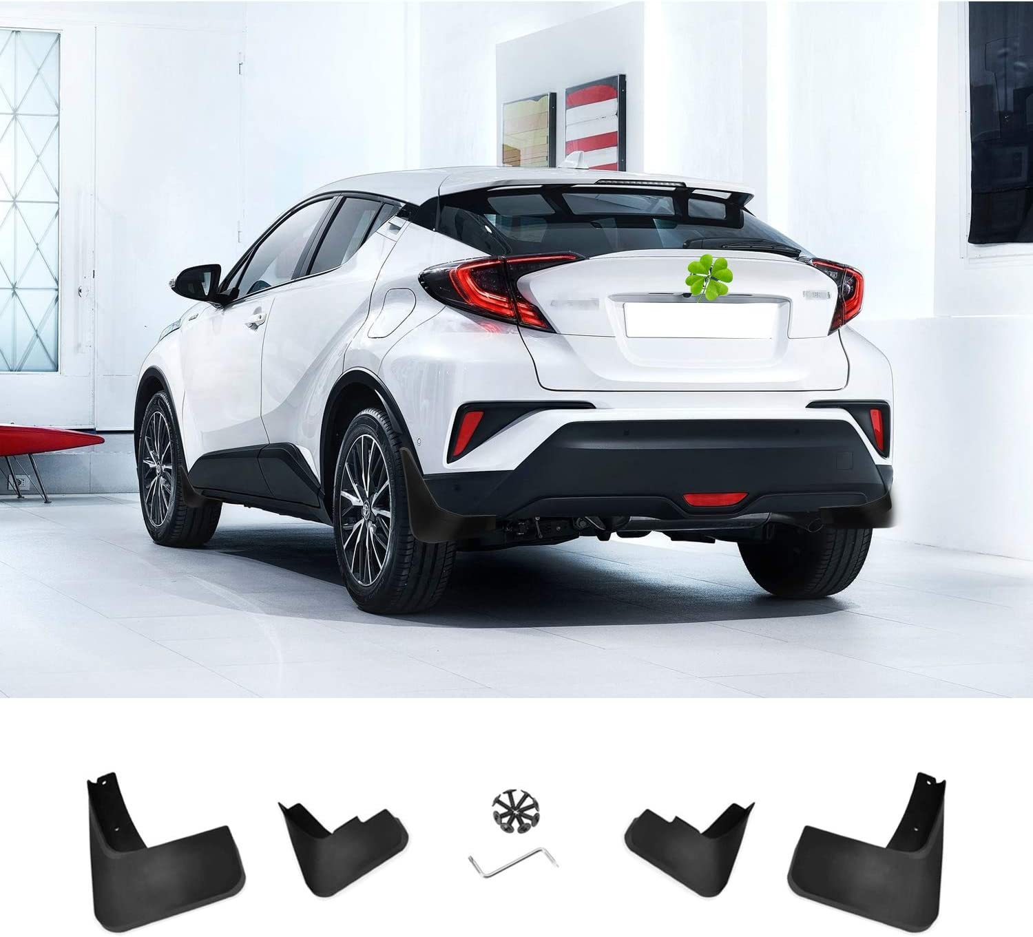 Ruiya C-HR Car Mudflaps Mudflaps Mudguard Splash Guard Black Plastic Complete Protection Fender Pack of 4