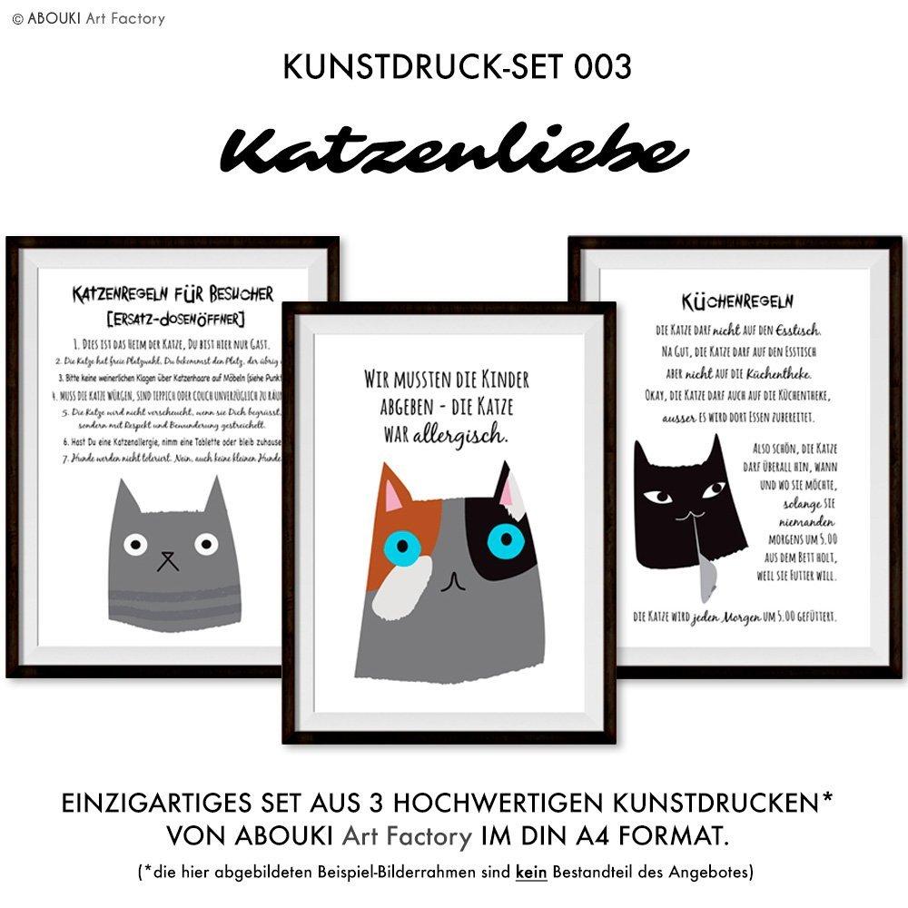 Katzenliebe Kunstdruck 3er Set - ungerahmt, DIN A4: Amazon.de: Handmade