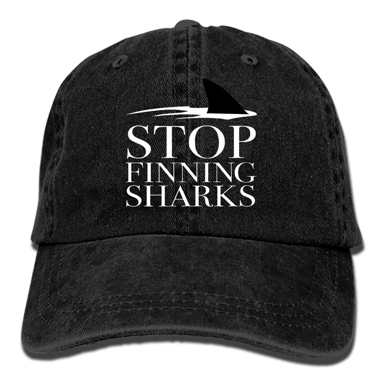Denim Fabric Adjustable Stop FINNING Sharks Vintage Baseball Cap