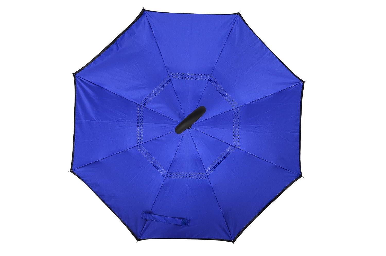 MYC Yi Lian inversa plegable doble capa paraguas invertido paraguas y la lluvia anti-UV y el sol con las manos en forma de C libre de la manija, ...