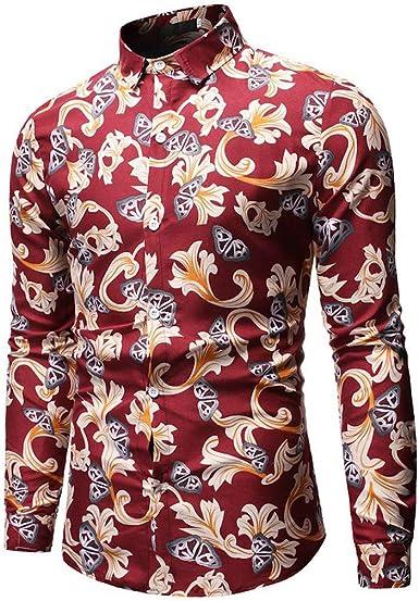 SO-buts Moda Para Hombre Estilo Hawaiano Ocio Estampado Floral Camisa De Manga Larga Tops Blusa, Hombres Tops Moda Manga Larga: Amazon.es: Ropa y accesorios