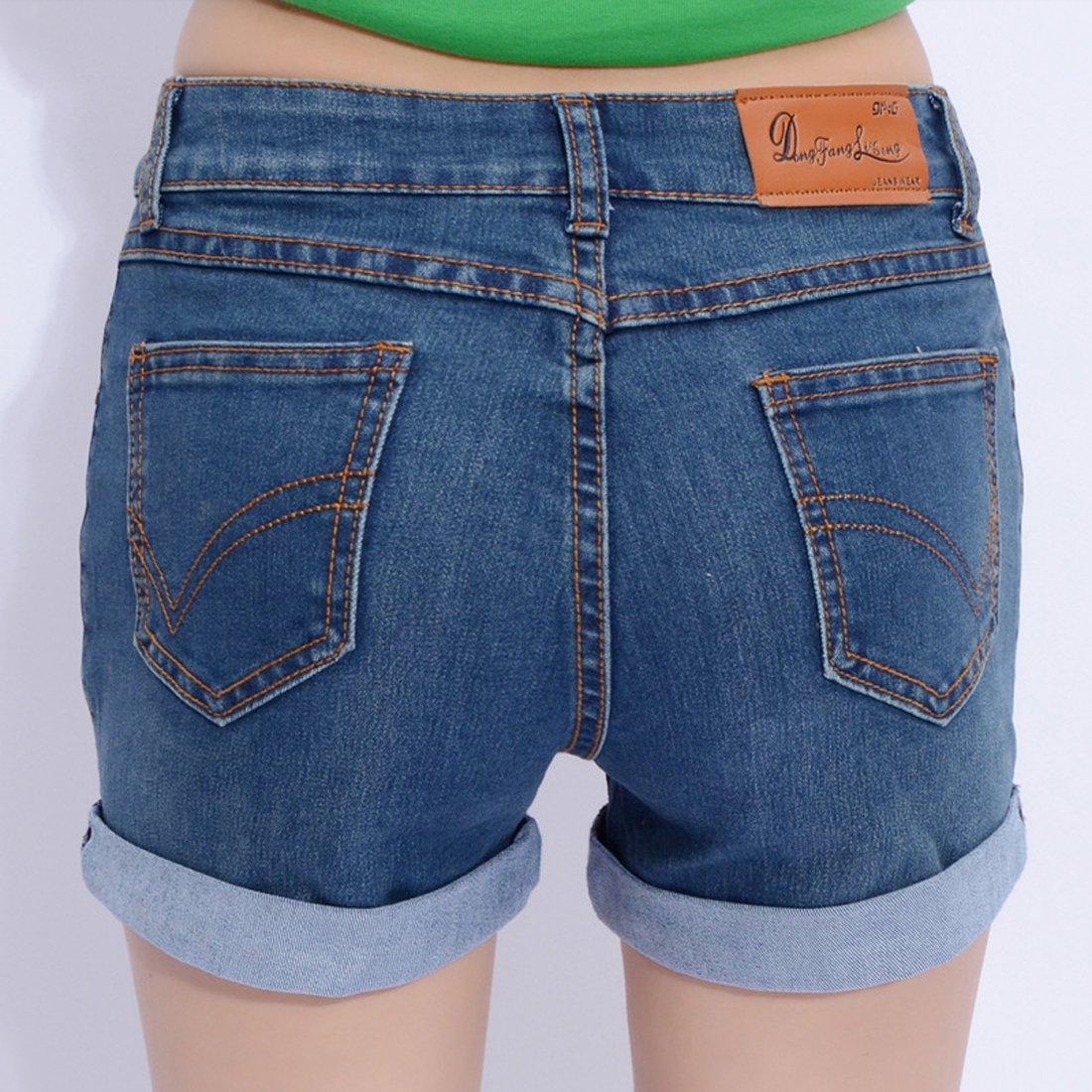 Chouyatou Women's Basic Stretched Mid-Rise Turn-up Cratched Denim Shorts (Large, Blue) by Chouyatou (Image #3)