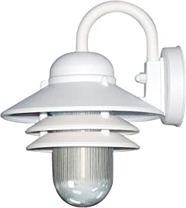 Sunlite 41367-SU Nautical Style Outdoor Wall Fixture, Medium Base Socket (E26), Weatherproof Polycarbonate, Prismatic Acrylic Lens, Made in The USA, UL Listed, White
