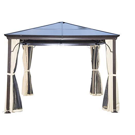 Outsunny 3 X 3m Patio Aluminium Gazebo Canopy Marquee Party Tent Hardtop Roof Garden Shelter W
