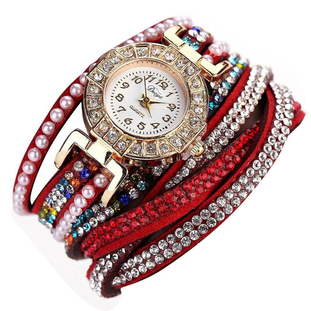 Hunputa Ladies Watch Women Pearl Scale Bracelet Quartz Wristwatch Crystal Diamond Clock Women Dress Watch (Red)