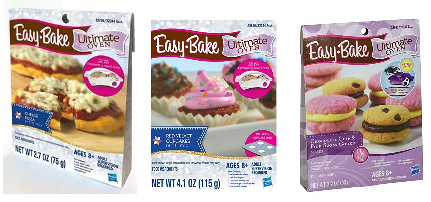 InterC Set of Easy Bake Oven Mixes Refills -Pizza, Chocolate Chip and Sugar Cookies, Cupcakes