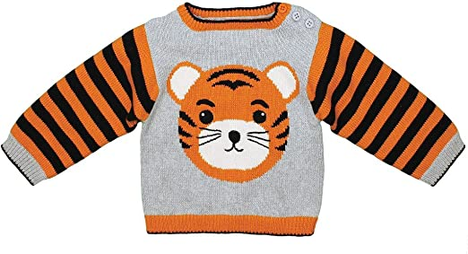 Zubels Baby Hand Knit Cotton Tiger Sweater, All Natural, Eco Friendly, Orange
