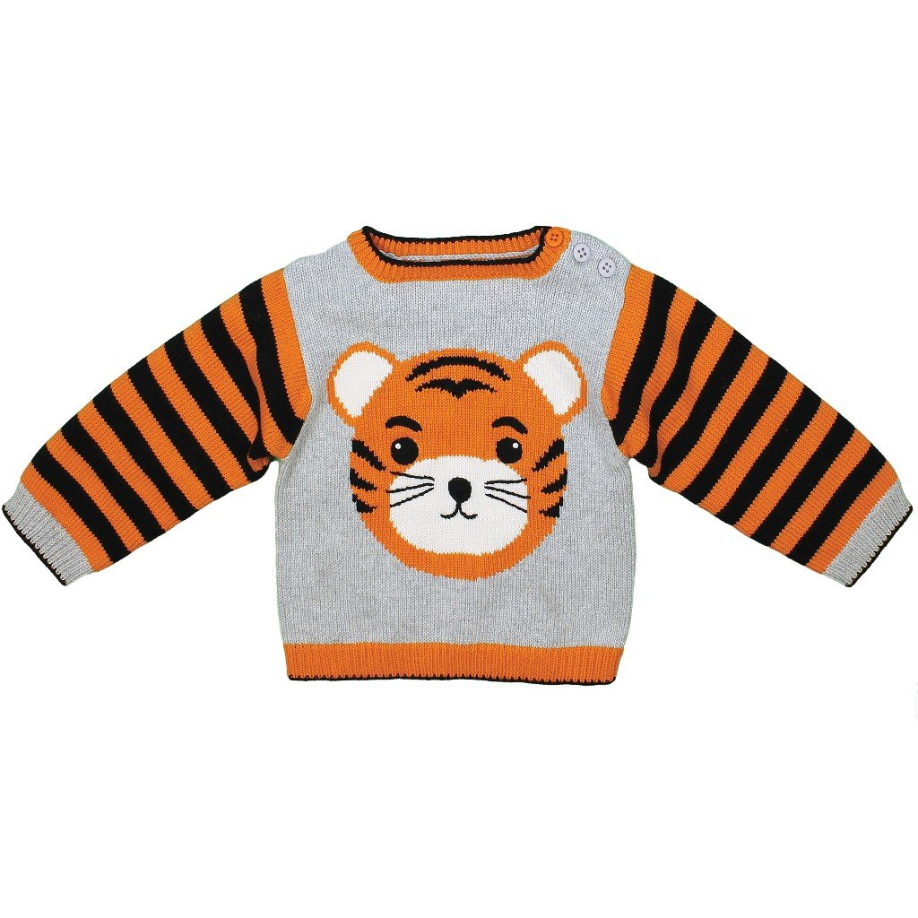Zubels Hand-Knit Tiger Sweater, 18M - All-Natural Fibers, Eco-Friendly Gray by Zubels
