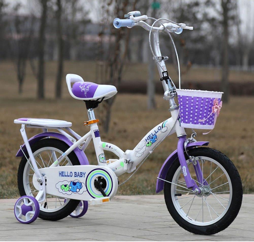 子供用折りたたみ自転車, 学生折りたたみ自転車 赤ちゃんの自転車 ベビーカー 超軽量 ポータブル 折りたたみ自転車 5 9 年古い B07DFTQ3GZ 18inch|紫の 紫の 18inch