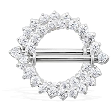 40a18f0202e394 14K Gold Internally Threaded Nipple Ring Shield, 14K White Gold, Priced And  Sold In