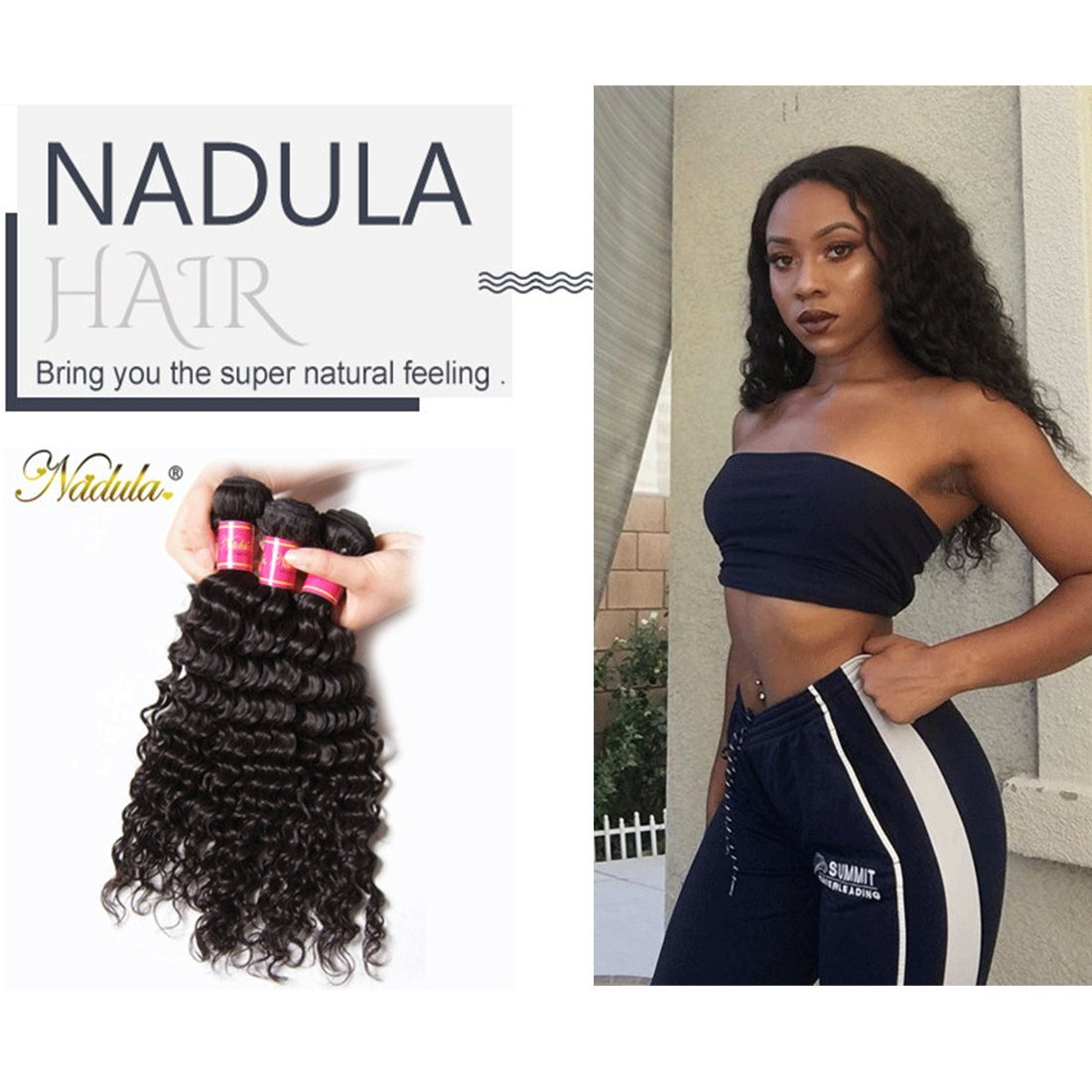 Nadula 6a Remy Virgin Brazilian Deep Wave Human Hair Extensions Pack of 3 Unprocessed Deep Wave Weave Natural Color Mixed Length 16inch 18inch 20inch by Nadula (Image #6)