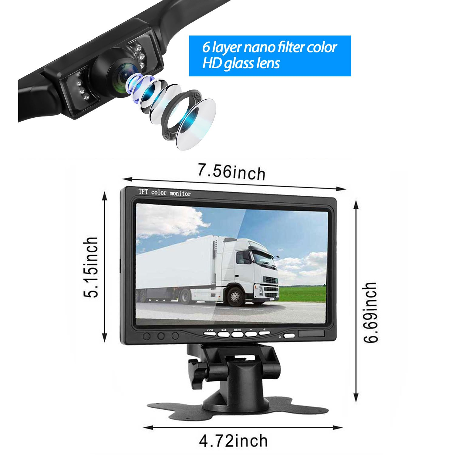 Leekooluu Backup Camera And 7 Monitor Kit For Car Plcm7200 Wiring Diagram Truck Van Pickup Camper Wire Single Power Whole Rear View Display System With