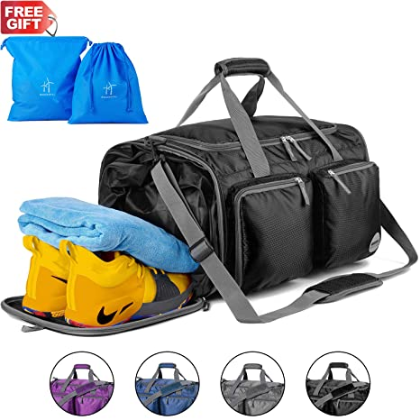 d3696e4cbbc6 WANDF Foldable Gym Bag Packable Travel Duffle with Extra 2 Wet Bags   Shoes  Compartment