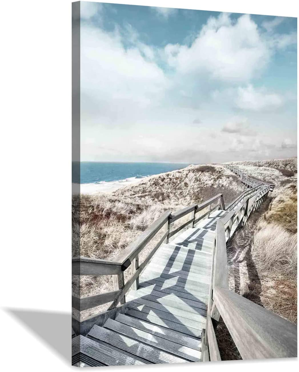 Beach Pier Canvas Wall Art: Boardwalk Stair Picture Graphic Art Painting for Wall Decor(24''x36'')