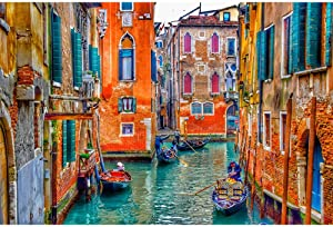 YQSHYP 500,1000,1500,2000,3000,4000,5000 Piece,Venice Canal, Landscape Puzzle, Educational Toy Wooden Jigsaw Puzzles for Adults and Kids,Relieve Stress Educational Puzzle Toy,Living Room Decoratio