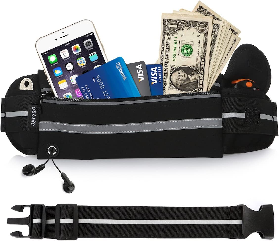 UShake Gear Running Belt with Extender, Bounce Free Pouch Bag, Fanny Pack Workout Belt Sports Waist Pack Belt Pouch for Apple iPhone XR XS 8 X 7 Samsung Note Galaxy in Running Walking Cycling Gym-01