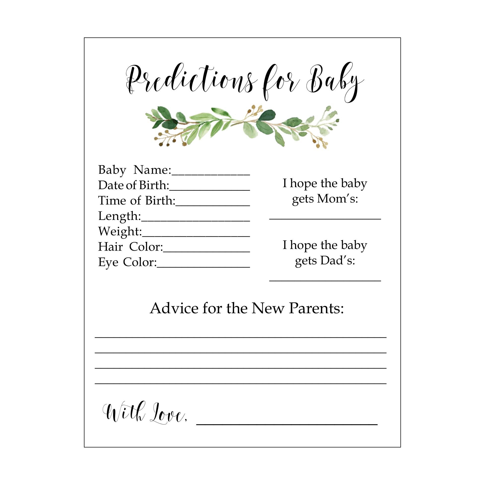 Baby Predictions Baby Shower Game for Boy or Girl, Fun Baby Shower Game, Set of 20, Baby Shower Guest Book Alternative, Baby Shower Advice Cards, Predictions, Green Watercolor Foliage Floral Swags