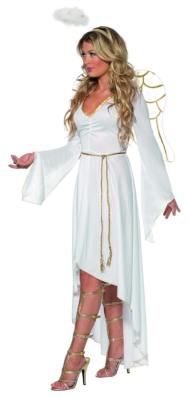Aureola Y Alas Eu Tama/ño 40-42 M Blanco SmiffyS 36977M Disfraz De /Ángel Adulto Con Vestido Cintur/ón Set De 2