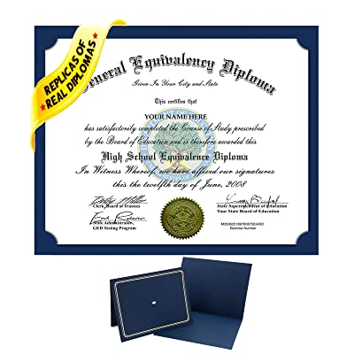 Fake GED High School Diploma Novelty Diplomas Looks Authentic with Real Layout - by Elizabeth Peacock 1991: Toys & Games