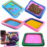 Dontdo Funny Kid Square Inflatable Elevated Large Sandbox Tray Castle Stacking Play Toy Random Color