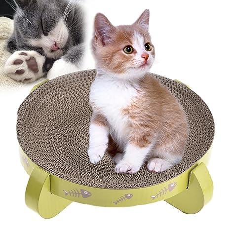 Awhao Rascador de gatos, cartón reversible, rascador de gatos, snuggle y descanso