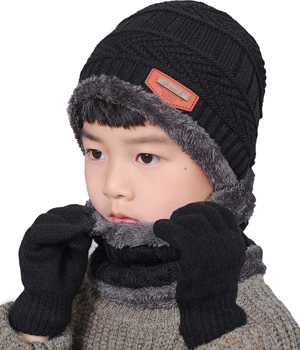 Winter Warm Knit Set Beanie Hat Knitted Stretch Gloves Knit Thick Warm Fleece Lined Thermal Hat Gloves for Kids Children