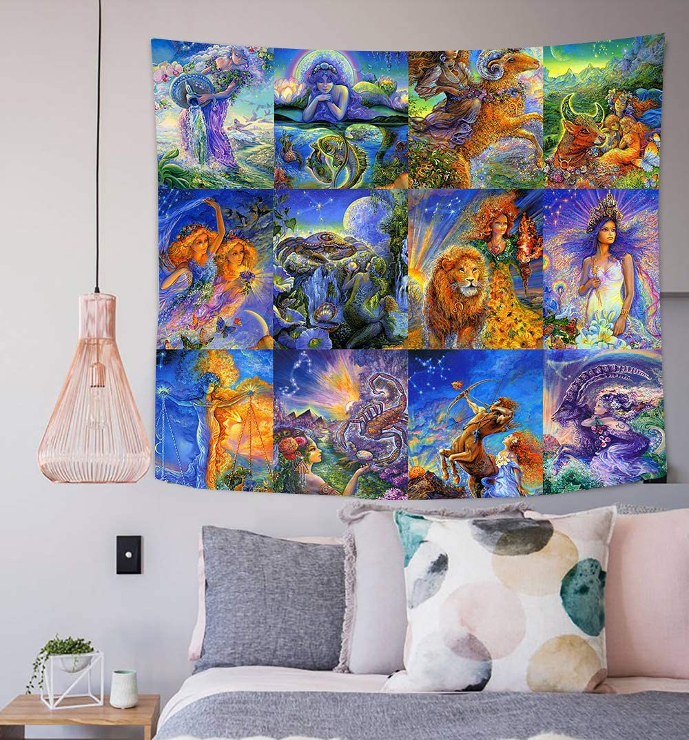 Simsant Star Sign Constellation Tapestry Wall Hanging Magic Cartoon Gift for Girlfriend Colorful Tapestry Blanket Backdrop for Bedroom Living Room Dorm Dormitory Wall Decor 60x60 Inch SILS992