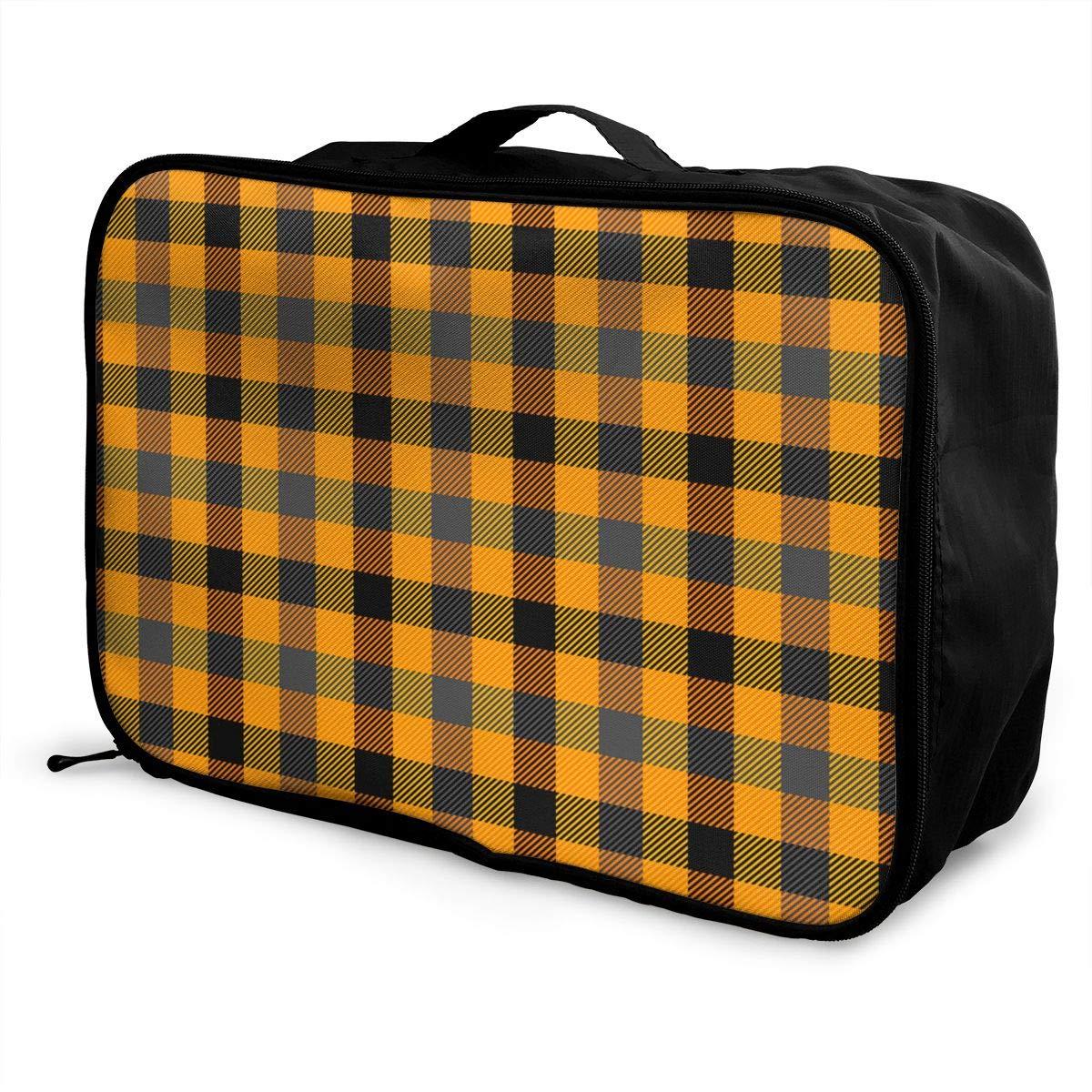 ADGAI Halloween Tartan Plaid Pattern Scottish Cage Canvas Travel Weekender Bag,Fashion Custom Lightweight Large Capacity Portable Luggage Bag,Suitcase Trolley Bag