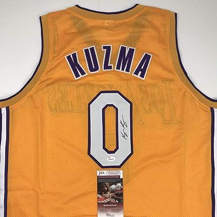 4eb7845ea7b Autographed/Signed Kyle Kuzma Los Angeles LA Yellow Basketball Jersey JSA  COA