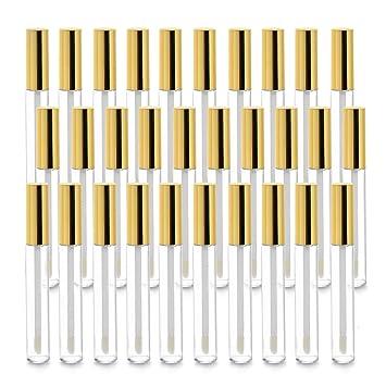 Vumdua 30 Pcs 10ml Empty Lip Gloss Tubes Containers, Refillable Lip Balm Bottles for DIY Makeup Such as Lip Samples, Homemade Lip Balm (Gold)