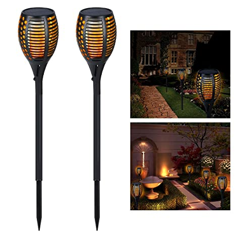 Solar Outdoor Torches Lights, YUNLIGHTS Dancing Flames Patio Torches  Waterproof With 96 LED Dusk To