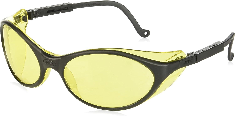 Uvex S1601 Bandit Safety Eyewear, Black Frame, Amber Ultra-Dura Hardcoat Lens