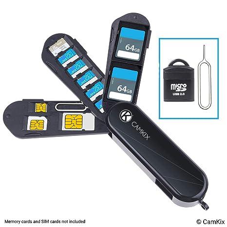 Estuche de Almacenamiento de Tarjeta de Memoria y SIM con Lector Micro SD (USB) y Pin de Expulsión - Diseño Tipo Navaja Suiza - Se Adapta a 1x SD, 6X ...