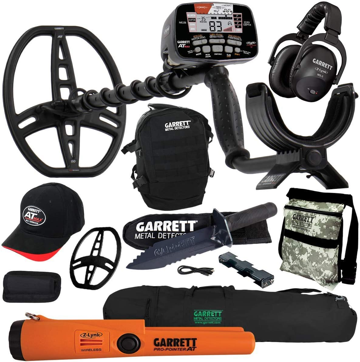 Garrett at MAX Metal Detector with MS-3, Pro-Pointer at Z-Lynk, Carry Bag More Pack 1