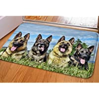 HUGS IDEA Cool Flannel Indoor Outdoor Doormat Soft Kitch Bath Carpet Floor Mat German Shepherd Dog