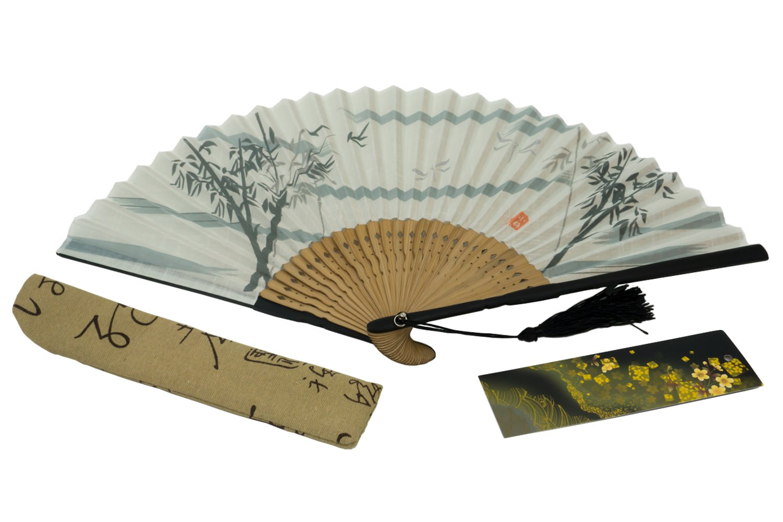 Slidingmovement Japanese Handheld Folding Fan Grey