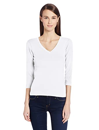 2f4b2f388a4d Image Unavailable. Image not available for. Color  Three Dots Women s  Essential Deep V-Neck 3 4 Sleeve Tee ...