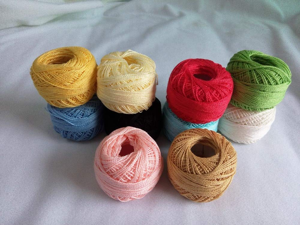 Zamtac hot Selling 10 Rolls 9s/2 100% Cotton Stitch Embroidery Thread Crochet Thread Hand Cross Embroidery Thread