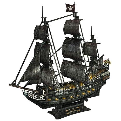 Desconocido Luz LED misteriosa reina venganza 3D Puzzle modelo buque, piratas negro perla DIY 3D